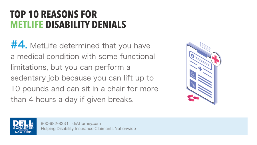 With functional limitations Metlife denied a disability claim because claimant has the ability to perform sedentary occupation
