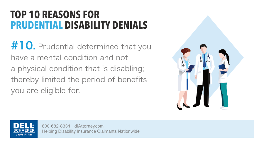 Prudential based your denial on a mental disability and not a physical disability
