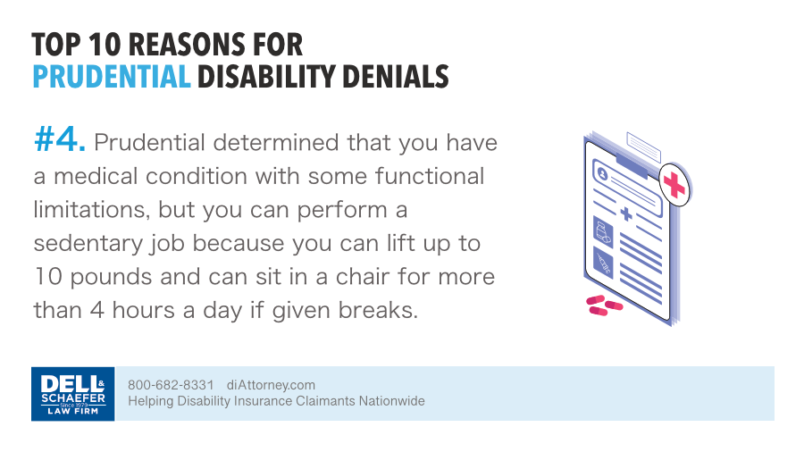 With functional limitations Prudential denied a disability claim because claimant has the ability to perform sedentary occupation