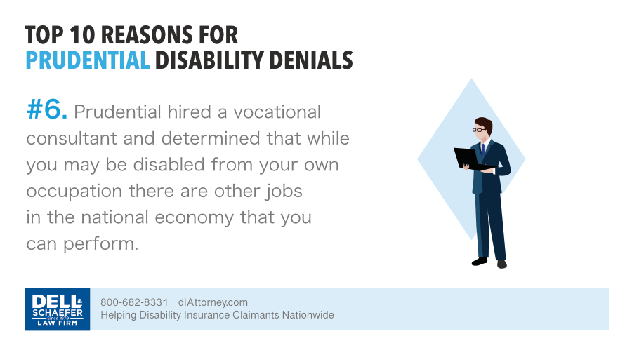 Prudential denied claim based on a vocational consultant evaluation of employable with other occupation