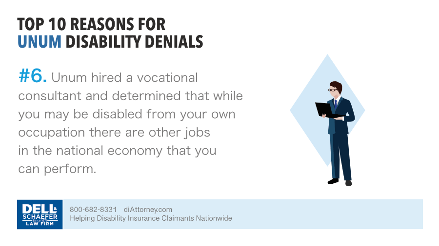 Unum denied claim based on a vocational consultant evaluation of employable with other occupation
