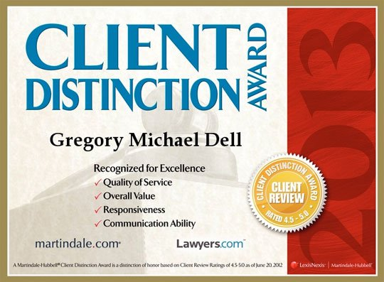Gregory Dell Receives Client Distinction Award from Martindale