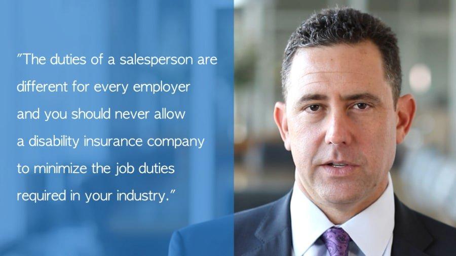 Salesperson disability insurance claim